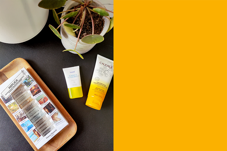 Summer Beauty Essentials including caudalie tan prolonging after sun lotion, supergroup unseen sunscreen and Maison margiela replica perfume samples
